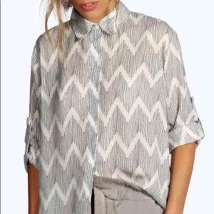 Boohoo oversized zig zag shirt size large
